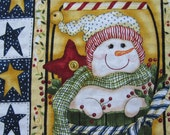 SET of 2 CUTE SNOWMEN on Burgundy Towels