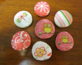 HOOTY and BABY CUTEY Owl and Flower Fabric Covered Glass Strong Magnets