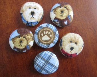 TEDDY BEAR and PLAID Flannel Magnets Teresa Kogut