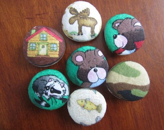 CABiN CAMPiNG WOODLAND WiLDERNESS MAGNETS