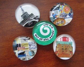TRAVEL VACATION HOLIDAY Magnets Set of 5 Glass Bubble Magnets Have a Great Trip Bon Voyage