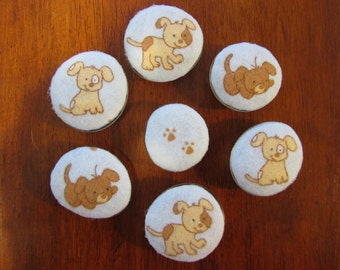 PLAYFUL PUPPY Glass and Fabric MAGNETS