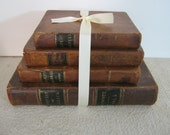 Antique Leather Book Bundle for Display and Decor 1800s 19th Century