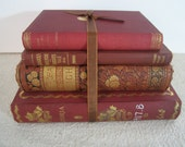 Vintage and Antique Book Bundle Red Brown Russet Gold for Display and Decor