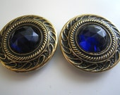 Antique Glass Buttons Cobalt Blue Gay Nineties 90s Vintage Sewing Couture Costume Design Matching Pair