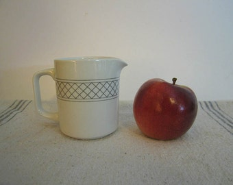 VIntage White Creamer with Modern Geometric Gray Linear Design Simple