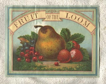 Vintage Fruit of the Loom Antique Chromolith Crate Box Label 1919