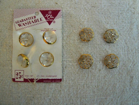 Vintage Gilded Clear Glass Sewing Buttons Two Sets Destash