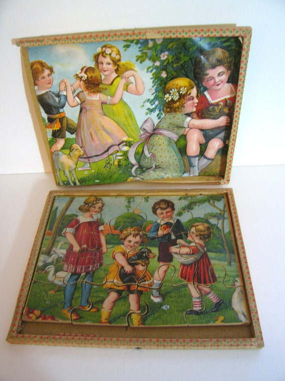 Antique Jigsaw Puzzle Wooden Vintage Edwardian Chromolith Two Sided circa 1900