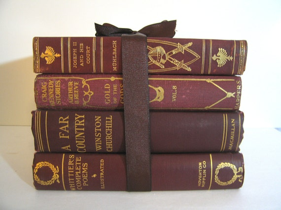 Antique Red Marbled Dark Red Maroon Wine Colored Gilt Books Bundle Classics for Display Home Decor Staging Display