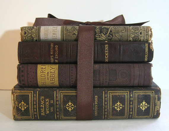 RESERVED FOR R Antique Books Bundle Classics Brown Gold Silver Leather