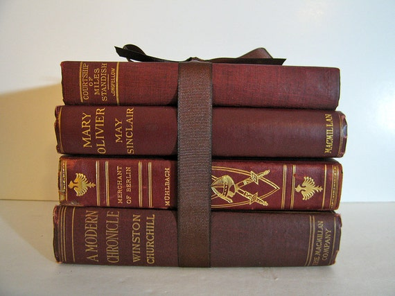 Vintage and Antique Books Bundle Red Maroon & Marbled Classics for Display Home Decor