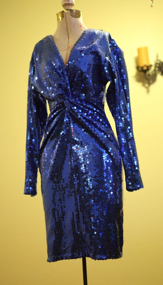 Royal Blue Sequin 80s Cocktail Dress Size Medium or Large