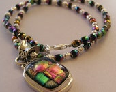 Eclectic Spectrum Dichroic Glass Sterling Silver Pendant Beaded Necklace