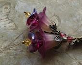 Purple Flower Earrings, Berry Merlot, Floral Jewellery, Lucite Flower Earings, Botanical, Nature, Garden