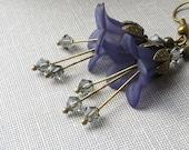 Blue Earrings, Lucite Flower Earrings, Dark Blue, Navy Blue Dangle Earrings, Floral Drop, Smoke Grey, Midnight Jewellery