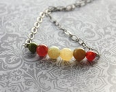 Glass Bead Necklace, Row of Beads, Red Rust, Brick Red, Olive Green, Cedar Green, Golden Yellow