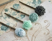 Aqua Grey Flower Bobby Pins, Aqua Sea Mist Grey, Blue Hair Accessories -Set of Four (4)