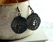 Black Branch Earrings, Black Enamel Earrings, Round, Modern Nature, Woodland, Tree silhouette
