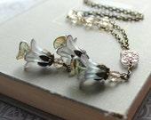 Flower Charm Necklace.Smokey Grey.  Aqua Blue Jewellery. Long Necklace. Lucite Flower Necklace.