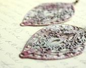 Patina Earrings, Patina Jewelry, Raspberry Red, Aqua, White, Filigree Earrings, Long Earrings, Faux Painted Patina