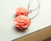 Coral Rose Earrings Flower Earrings Floral Accessories Spring Dangle Earrings Bright Drop Earrings Orange Peach Coral Flower Long Earrings