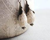 Cream Drop Earrings, Antique Gold Dangle Earrings Cream and Gold Teardrop Metal Ruffle Lace Design Gift for Women Lightweight Gift Under 25