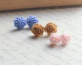 Flower Stud Earrings, Rose post earrings, Spring Jewelry, Cornflower Blue Dahlia, Powder Pink, Caramel Tan, Three Pairs