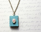 Patina Jewelry, Book Locket Necklace, Aqua Patina, Pink Rose Cameo, Shabby Chic, Secret Hiding Places, Antique Brass, Unique Necklace