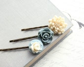 Blue Flower Bobby Pins, Denim Blue Rose, Ivory Cream Chrysanthemum, Powder Blue, Set of Three (3)