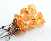 Dangle Earrings, Long Flower Earrings, Glass Beaded Drop Earrings, Tangerine Orange, Boho, Fall Fashion, Autumn Jewellery