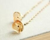 Long Chain Earrings, Glass Flower Earrings, Dangle Earrings, Unique Flower Earrings, Golden Honey, Spring Jewellery