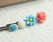 Flower Hair Pins, Coral Peach, Aqua, Teal Rose, Turquoise Blue Daisy, White Flower, Rose Hair Clips, Resin Flower Bobby Pins