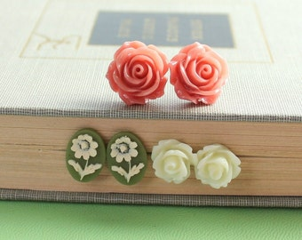 Rose Stud Earrings Coral Rose Post Earrings Flower Jewelry Ivory Cream Rose Daisy Earrings Green Earrings Surgical Steel Post Nickel Free