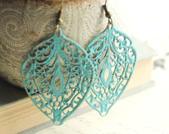 Blue Patina Earrings Aqua Patina Jewelry Big Filigree Earrings Lacy Dangle Earrings Turquoise Long Earrings Boho Style Bohemian Fashion