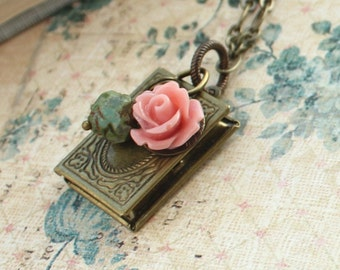 Book Locket Necklace Coral Pink Rose Charm Necklace Green Rosebud Antique Gold Brass Secret Hiding Place Picture Photo Locket Teachers Gift