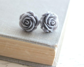 Grey Rose Stud Earrings Slate Grey Bridesmaids Jewelry Floral Post Earrings Resin Flower Romantic Modern Bridal Surgical Steel Flower Studs