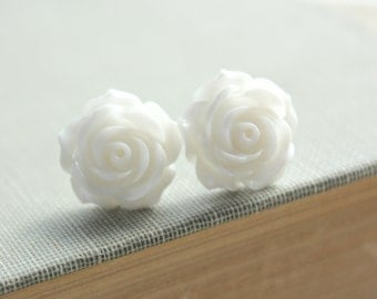 Rose Studs White Earrings Winter White Flower Bridal Jewelry Floral Accessories Resin Post Earrings Surgical Steel For Sensitive Ears