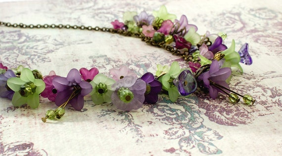 Unique Charm Necklace in colors of Fields of Lavender Purple and Leaf Green in Lucite, Czech Glass and Swarovski Beads