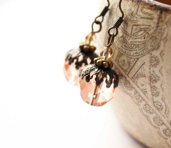 Pink Glass Earrings Vintage Style Glass Drop Earrings Dangle Earrings Beaded Earrings Pale Pink Peach Woodland Wedding Acorn Jewelry