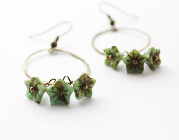 Turquoise Earrings, Beaded Earrings, Green Glass Earrings, Hammered Brass Ring, Rustic Chic