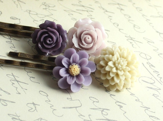 Purple Lavender Flowers, Bobby Pins, Hair Accessories, Spring Flowers, Hair Clips - Set of Four (4)