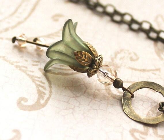 Flower Pendant Necklace. Deep Moss Green. Green Flower Necklace. Long Necklace.