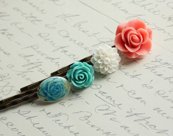 Rose Bobby Pins, Coral Rose, Aqua Blue, Teal Blue Rose,  White Flower, Floral Hair Accessories