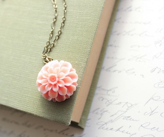 Pink Dahlia Necklace, Flower Pendant, Floral Jewellery, Botanical, Peach, Nature