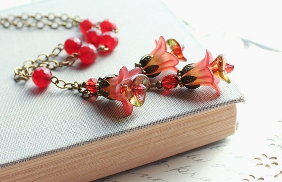 Lucite Flower Jewelry. Flower Charm Necklace. Long Necklace. Rust. Brick Red. Cranberry. Jewellery.