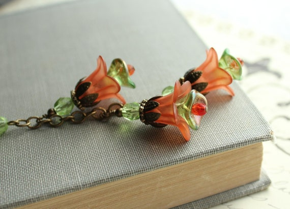 RESERVED for Patti - Orange Necklace. Lucite Flower Jewelry. Long Necklace. Pumpkin Blossom. Orange. Green. Jewellery.