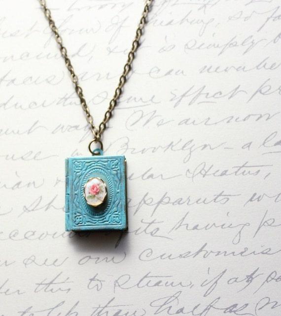 Patina Jewelry, Book Locket Necklace, Aqua Patina, Pink Rose Cameo, Shabby Chic, Secret Hiding Places, Antique Brass, Unique Necklace