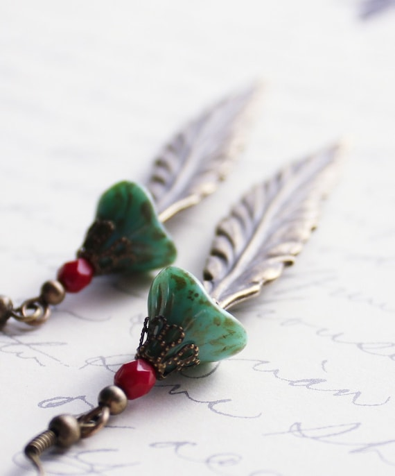 Unique Long Earrings, Boho Style, Tribal, Turquoise Green, Red, Glass Beaded, Feather, Antique Brass