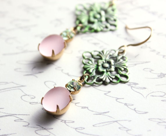 Blush Pink Earrings, Vintage Glass, Green Filigree Patina, Unique earrings, Spring Jewelry, Lace, French Romantic, Shabby Chic